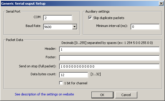 Generic Serial RAW output settings
