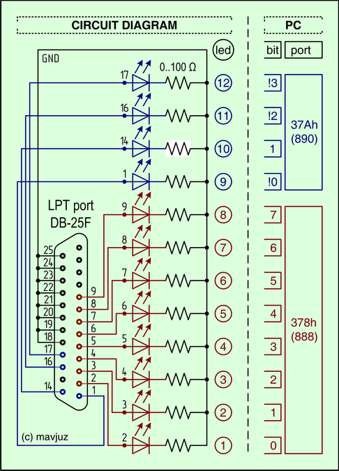 How to connect 12 LEDs to the LPT portWinLpt and 12..32 LEDs via LPT or Arduino - mavjuz