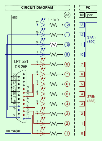 Circuit - How to connect 12 LEDs to the computer's parallel port (LPT)