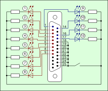 how to connect 12 leds to the lpt port rh wndlpt sourceforge io parallel port connection diagram parallel port timing diagram